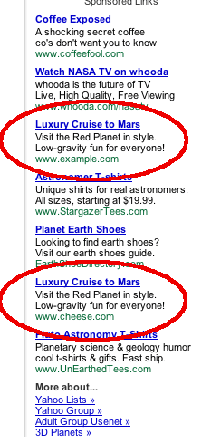 Screenshot of Google ads for luxury cruises to Mars
